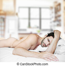 Home alone - Sexy nude male model in bed at home alone