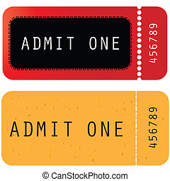 red - yellow ticket - admit one
