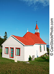 Old church and cemetery of Tadoussac - The wooden red roof...