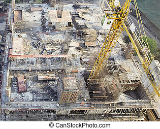 organised construction building site - aerial view of a...