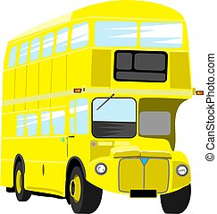 Yellow Bus - Illustration of a bright yellow double decker...