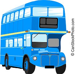 Blue Bus - Illustration of a bright blue double decker...