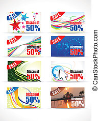 abstract multiple discount cards vector illustration