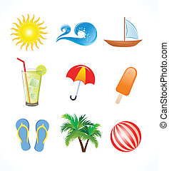 abstrct summer icons set