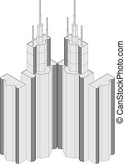 isometric projection of building