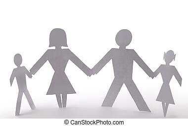 Cutout people family of four standing holding hands