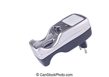 Battery charger - Small silver and gray plug-in battery...
