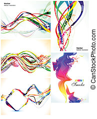 abstract colorful multiple wave set vector illustration
