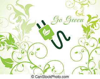 abstract eco plug with leaf vector illustration