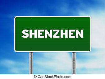 Shenzhen Road Sign - Green Shenzhen highway sign on Cloud...
