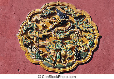 Chinese decorative design panel with patterns and dragons