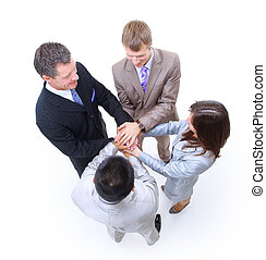 Group of business colleagues with their hands together