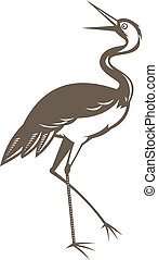 Crane looking up - illustration of a Crane looking up done...