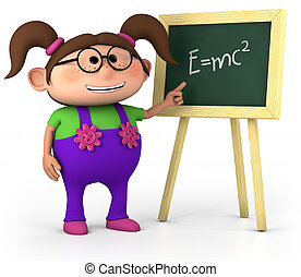little genius - smart little girl with blackboard - high...