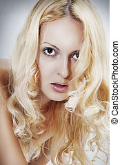 Blond beautiful sexual woman face
