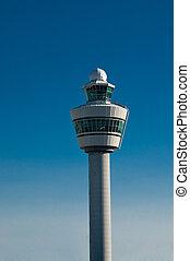 Błękitny, lotnisko, niebo, wieża, przeciw