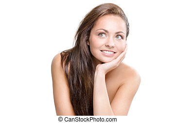 natural beauty - studio portrait of young beautiful woman -...