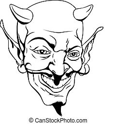Monochrome devil face - A black and white cartoon style...