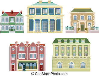 Luxury old fashioned houses buildings - Smart expensive...