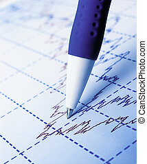 Stock market graphs and charts