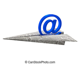 Sending e-mail - E-mail symbol on paper airplane