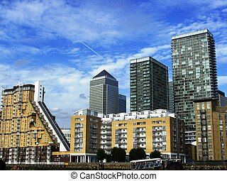 Docklands Area of East London - Skyline of the new Docklands...