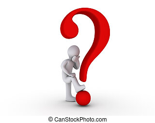 3d Person with Question Mark - 3d person with red question...
