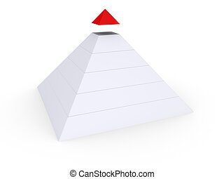 Completing the Pyramid - White pyramid with red top detached