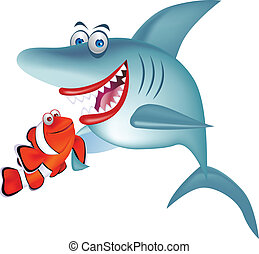 Shark and clown fish