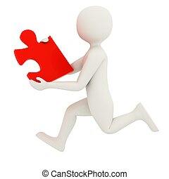White man running with puzzle piece - 3d man running with...
