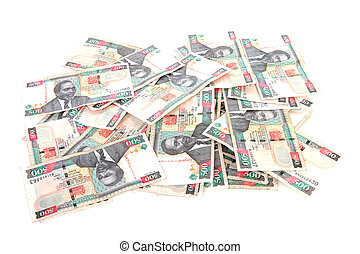 Pile of Kenyan currency over white background