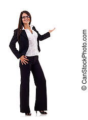 Business woman points at something in her back Isolated on...