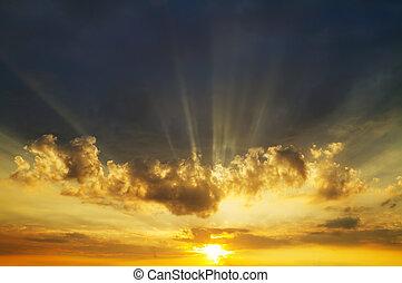 salida del sol, cielo