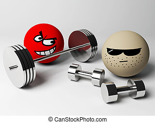 Fitness - 3d render of strength people with weights