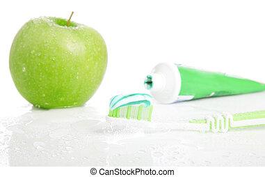 Macro shot of toothbrush with dental paste