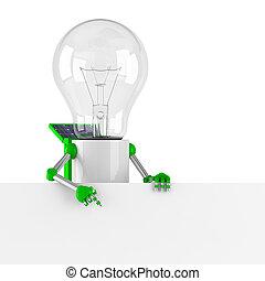 solar powered light bulb robot - blank banner