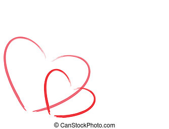 two hearts on white background  with room for text