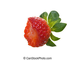 One Organic partially eaten Strawberry isolated on white...