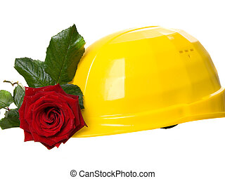 yellow helmet with rose on a white background