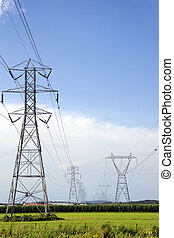 Two rows of electric pylons