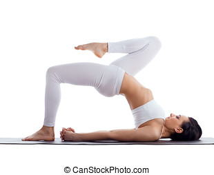 woman exercise bend yoga pose on rubber mat - Beauty woman...