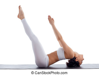 woman exercise bend yoga pose fish isolated