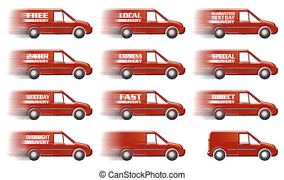 Delivery Van Multiple - Speeding Red Delivery Truck Graphic