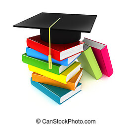Colorful books and graduation cap, Isolate on white