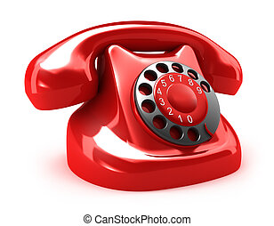 Red retro telephone, isolated on white My own design