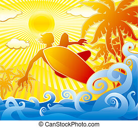 Surfer Summer scene