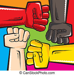 Anti racism - Vector illustration. 4 color fists