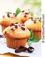 Fresh muffins - Muffins sprinkled with sugar and chocolate...