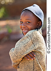 African kid - Poor African kid from Mochudi village,...