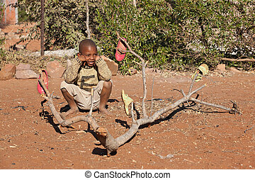 African little boy - Poor African little boy from Mochudi...